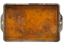 Rusty metal tray. Rusty grunge metal tray  with rough texture isolated on white with clipping path Stock Photography