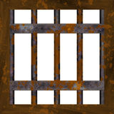 Rusty metal window frame Royalty Free Stock Photo