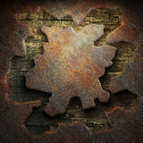 Rusty metal and wood plate Royalty Free Stock Photos