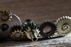 Rusty metallic gears and cogwheels machinery parts. Royalty Free Stock Photo