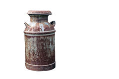 Rusty milk can isolated with clipping  path Royalty Free Stock Image