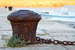 Rusty mooring bollard Royalty Free Stock Photo