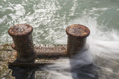 Rusty Mooring Bollards Royalty Free Stock Images