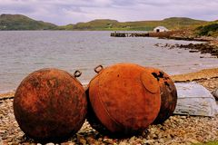 Rusting buoys, Achiltibuie, highlands Stock Photo
