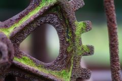 Free Rusty, Mossy And Aged Iron Gear From A Piece Of Vintage Farm Equipment At Near Macro Distance Stock Images - 155534614