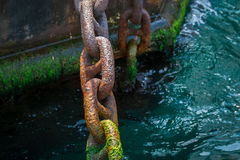 Rusty and mossy ship anchor chain on dry coast in the port. Stock Photos