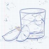 Rusty Nail Cocktail auf einer Notizbuchseite Lizenzfreie Stockfotografie