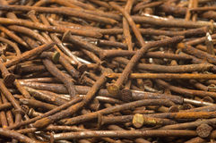 Rusty nails. Background of the old rusty nails, close-up Stock Photos