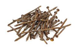 Rusty nails. Stack of rusty nails on a white background Stock Photos