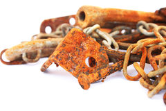 Rusty nails,chain,nuts. Rusty nails, nuts, chain isolated on white background Stock Images