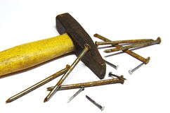 Rusty nails and hammer Royalty Free Stock Photography