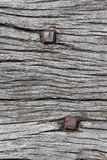 Rusty nails in wood texture. Close-up of two rusty square nails compressed in old wood Stock Photo