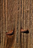 Rusty nails in wood Stock Image