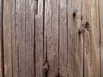 Rusty Nails and Woodgrain Background Stock Image