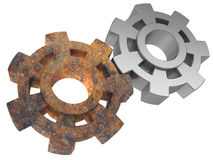 Rusty and new gears Stock Images