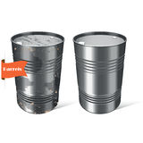 Rusty and new steel barrels. Vector illustration. Vector set of drums for storage of chemical fluids, solids, gasoline, oil, toxic substances royalty free illustration