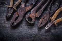 Rusty nippers pliers tin snips wire-cutter on Royalty Free Stock Image