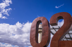 Rusty Number 02 with cloudy sky. Hobart, Australia: A rusty number 02 in front of a blue but cloudy sky Royalty Free Stock Photos