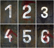 Rusty Numbers 1-6. Old rusty numbers V1 (1-6), grainy surface, XL size Royalty Free Stock Photography
