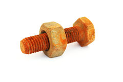 Rusty nut and bolt. Isolated on white background royalty free stock image