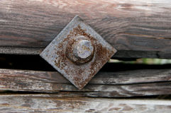 Rusty Nut and Bolt in a Wooden Log Royalty Free Stock Photos