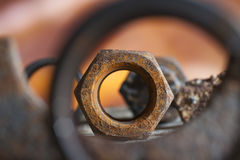 Rusty nut glow Royalty Free Stock Image