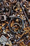 Rusty nuts and bolts background Royalty Free Stock Photos