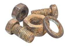 Rusty nuts and bolts on white background closeup Royalty Free Stock Image