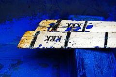 Rusty oars. In a blue boat Stock Photo