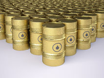 Rusty oil barrels. Rows of golden rusty oil barrels Royalty Free Stock Photos