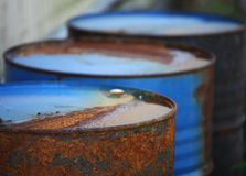 Rusty oil barrels Stock Photos