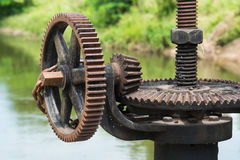 Rusty and oily water gate gear. Royalty Free Stock Image