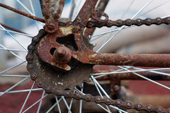 Rusty old bicycle. Gear and chain Stock Photography