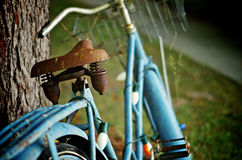 Rusty Old Blue Bicycle. Leaning against a tree - decorated with Christmas lights. Old rusty spring bicycle seat royalty free stock photography