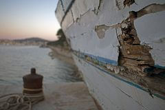 Rusty old boat with paint peeling royalty free stock images