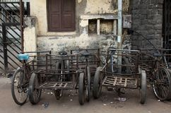 Rusty old bycicles in the streets of Mumbai, India stock photo