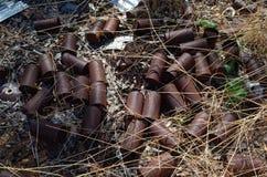 Rusty Old Cans Imagenes de archivo