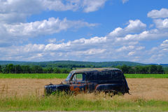 Rusty Old Car in Farm Field Royalty Free Stock Photo