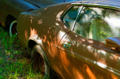 Rusty old cars in abandoned place, junkyard. Vintage style Stock Image