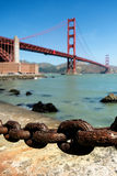 Rusty old chain, Golden gate bridge. Rusty old chain in view point area near a base of golden gate bridge Stock Photo
