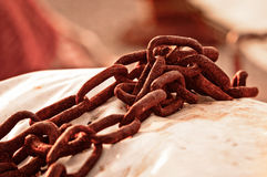 Rusty old chains Stock Images