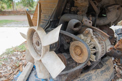 Rusty old dirty  car  engine crash repairs. in workshop Stock Photography