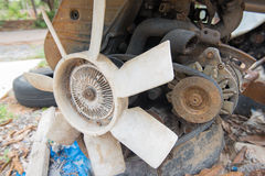 Rusty old dirty  car  engine crash repairs. in workshop Stock Images