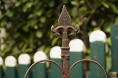 Rusty Old Fence Spike In Garden Royalty Free Stock Image