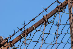 Rusty old fences of barb wire Royalty Free Stock Photo