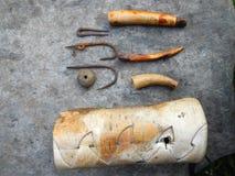 Rusty old fishhooks Royalty Free Stock Photos