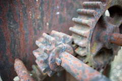 Rusty Old Gears Closeup. Close up view of rusty gears of a mining machinery. Photo taken at the Gympie Mining Museum in Queensland in Australia Stock Image