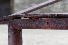 Rusty old guardrail. Details of Rusty guardrail Stock Images