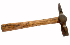 Rusty old hammer isolated over white. Stock Photo