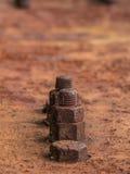 Rusty Old Industrial Screw Arkivbilder